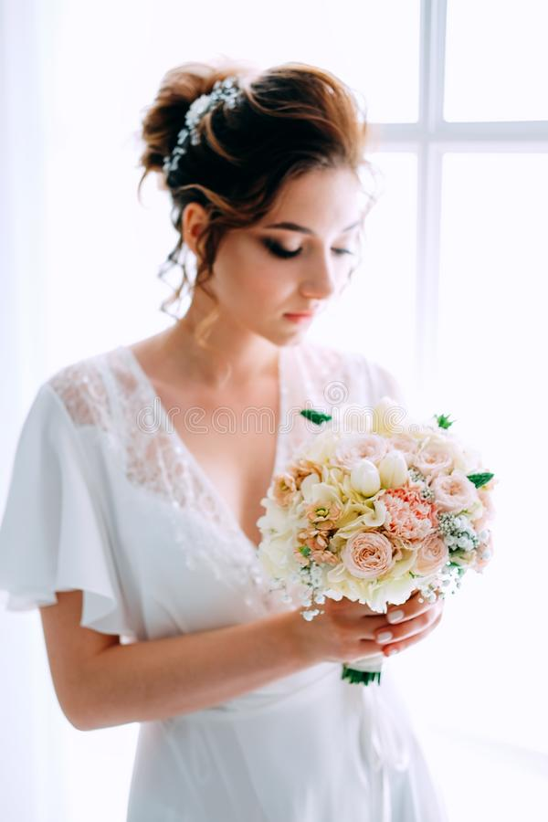 Bridal morning. Getting ready for the wedding ceremony royalty free stock photos