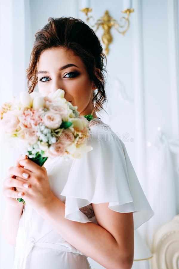 Bridal morning. Getting ready for the wedding ceremony stock photo