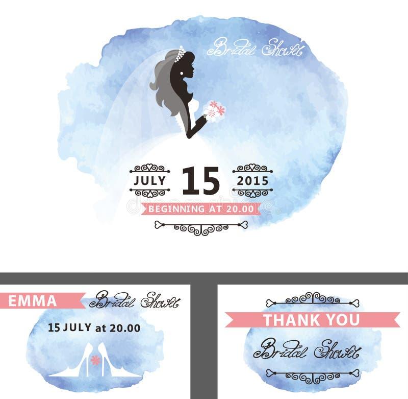 Bridal prysznic szablonu set Panna młoda, akwarela cyan ilustracji