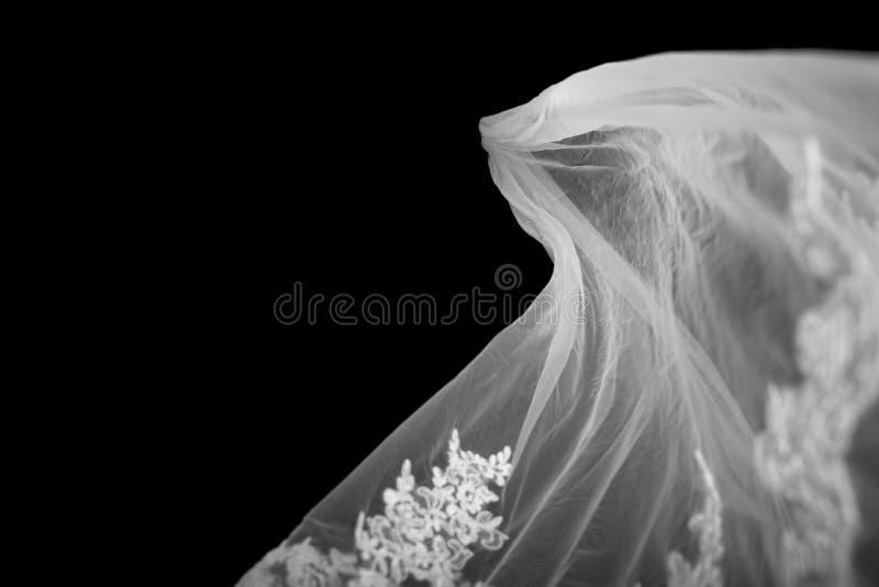 Bridal przesłona na czarnym Backgroind zdjęcia stock