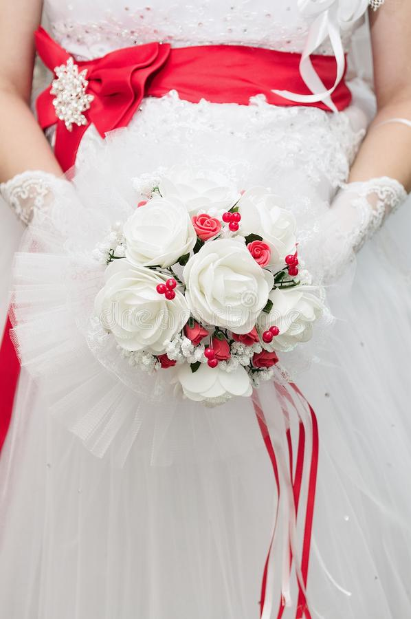 Bridal red bouquet royalty free stock images