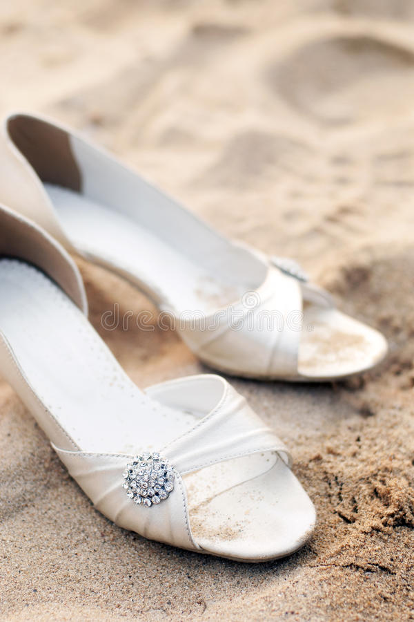 Bridal Shoes On Beach Wedding Party Stock Image - Image: 18868531