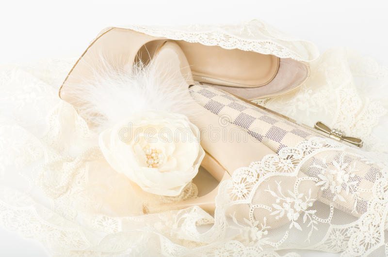 Download Bridal Shoes, Lace, Bag And Beads Stock Image - Image: 24021061