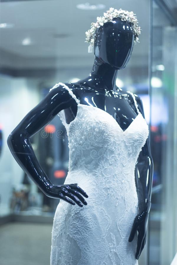 Bridal shop dummy bride mannequin stock photos
