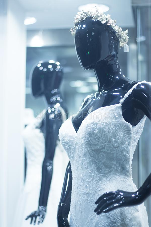 Bridal shop dummy bride mannequin stock images