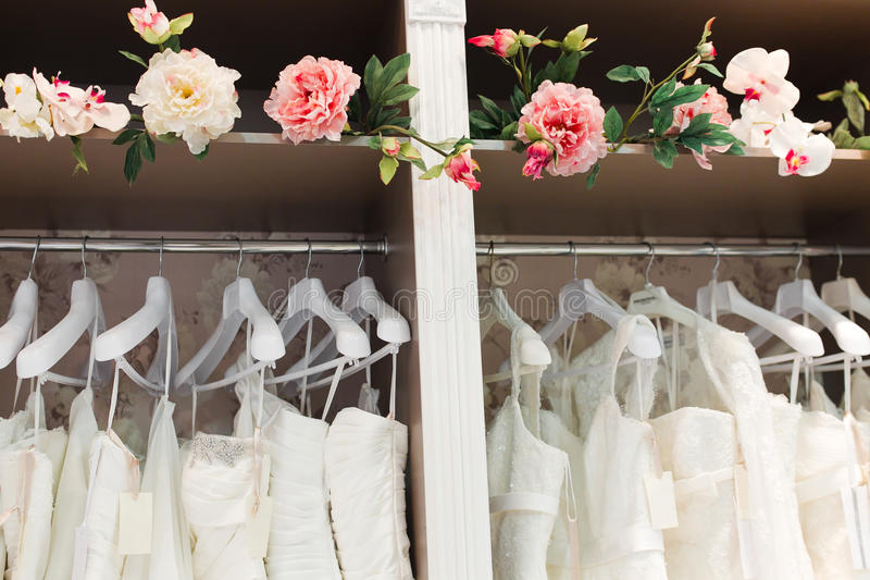 Bridal shop. Interior and flowers royalty free stock photos