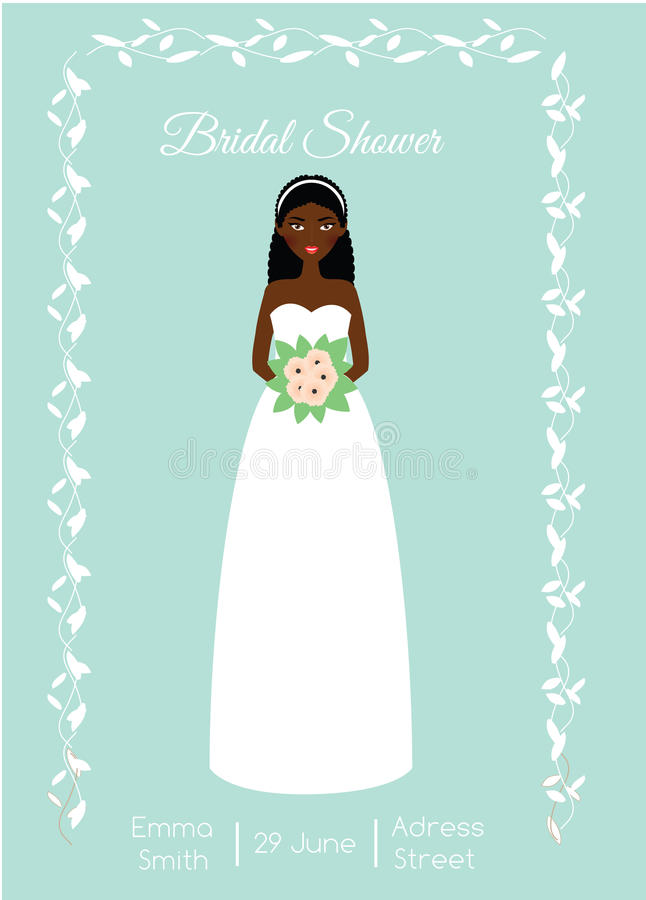 Bridal Shower Card With Smiling Happy Bride African American Woman