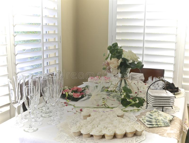 Bridal shower dessert table royalty free stock photo