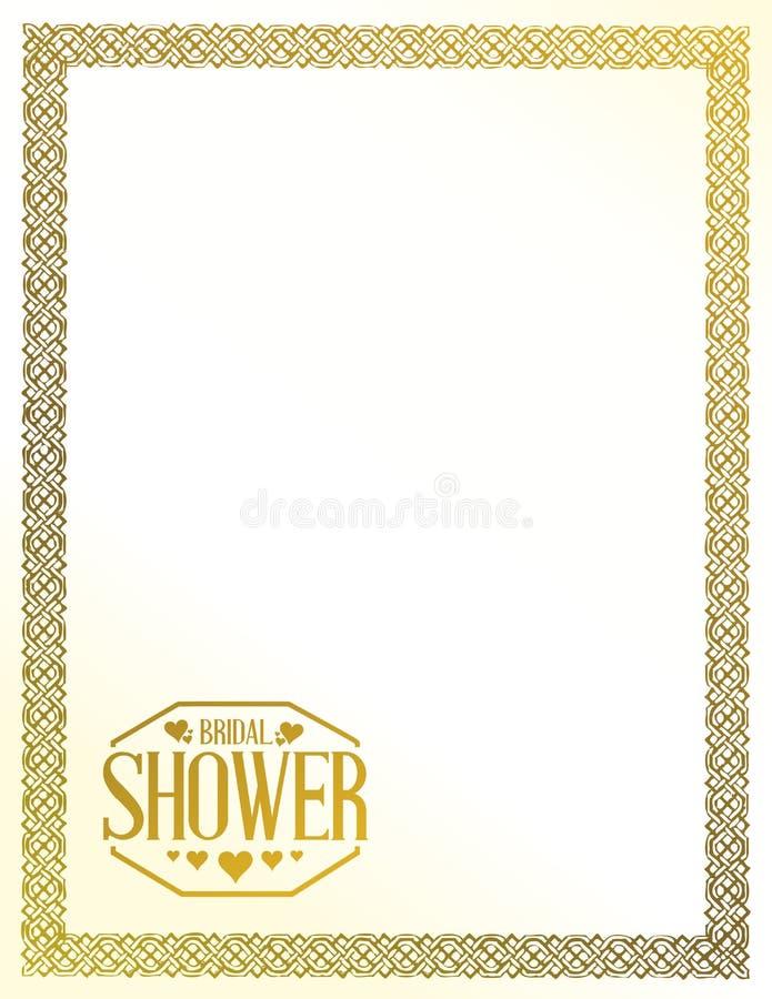 Bridal shower golden border sign lines background. Illustration design graphic background vector illustration
