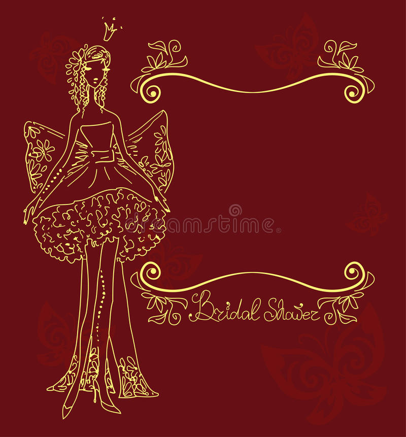 Download Bridal Shower Hand Drawing Card Stock Vector - Image: 24092534
