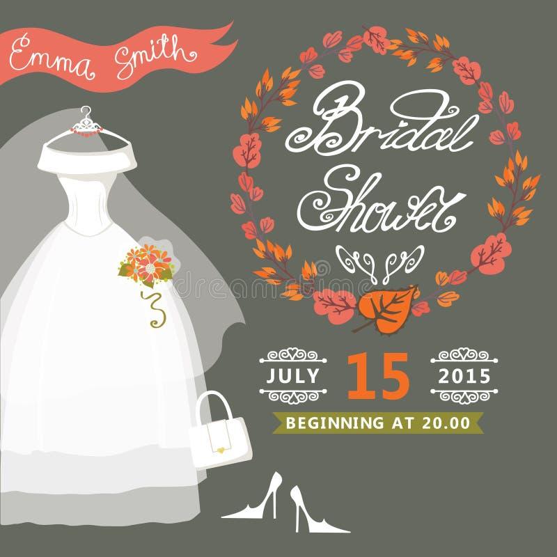 Bridal Shower invitation with autumn wreath, vector illustration