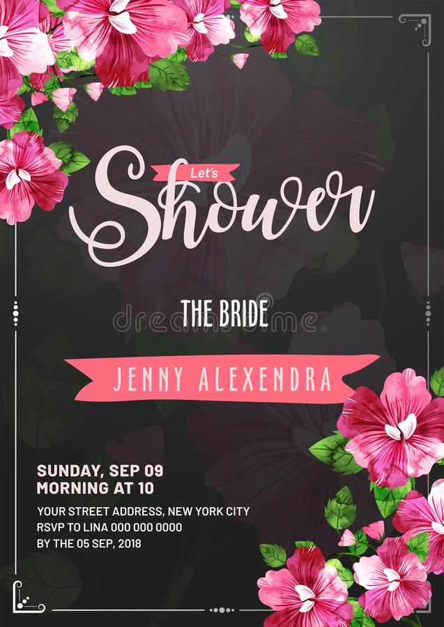 Free Bridal Shower Invitation Card Template Royalty Free Stock Image - 113292106