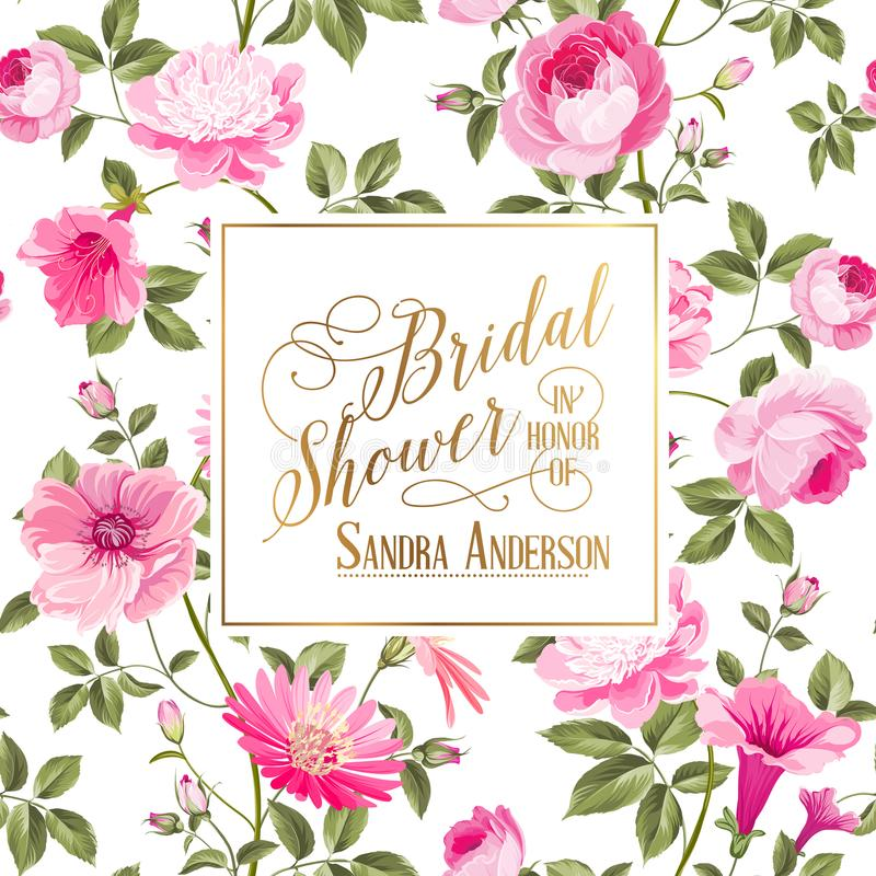 Bridal Shower invitation with flowers. royalty free illustration