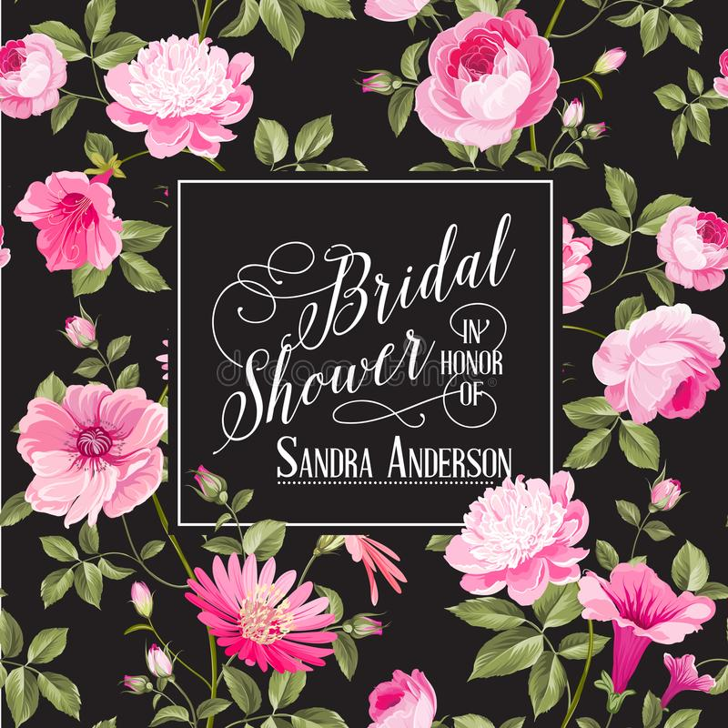 Bridal Shower Invitation With Flowers. Stock Vector - Illustration ...