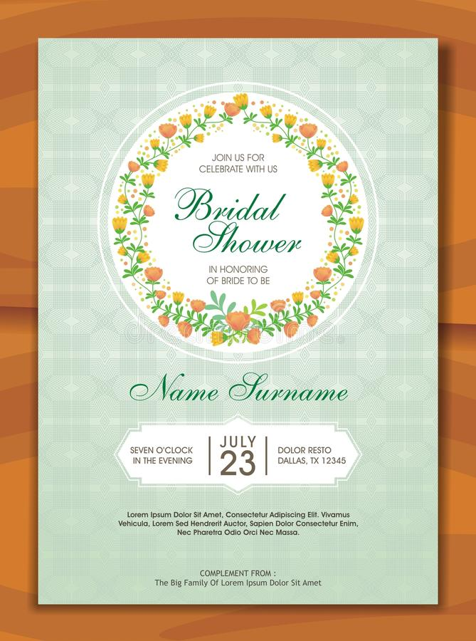 Bridal Shower Invitation with lovely design. Is a professional, clean, & creative Bridal Shower invitation template designed to make a good impression stock illustration