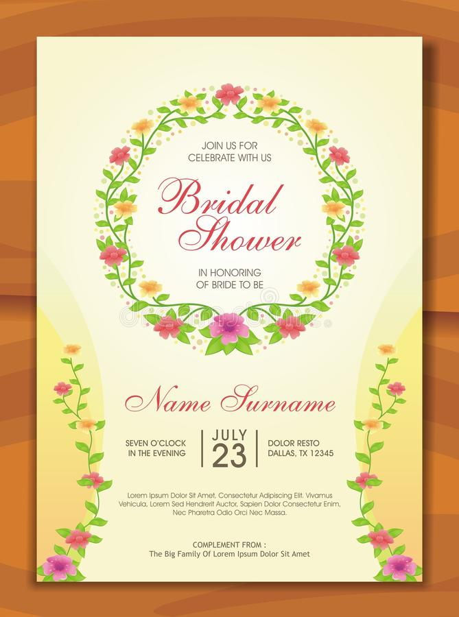 Bridal Shower Invitation with lovely design. Is a professional, clean, & creative Bridal Shower invitation template designed to make a good impression royalty free illustration
