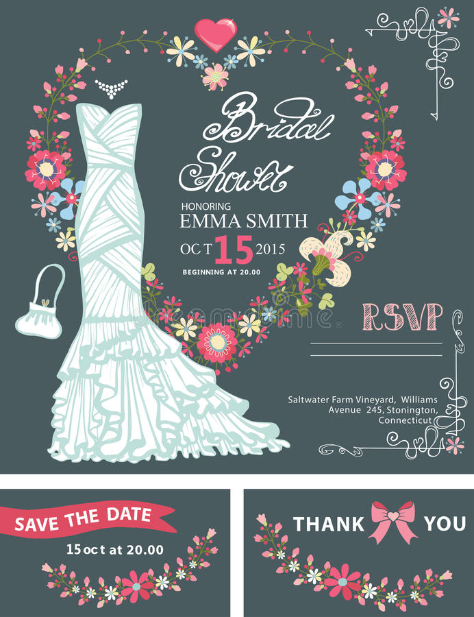 Bridal shower invitation templateidal dress stock vector bridal shower template setding dress with floral wreath in heart shape hand writing textribbonding invitationsave the date card thank you card stopboris Image collections