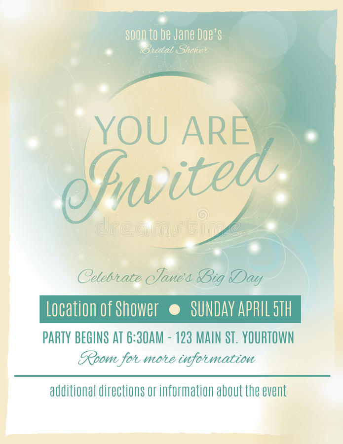 Bridal shower invitation template. Light and glowing wedding shower invitation template royalty free illustration