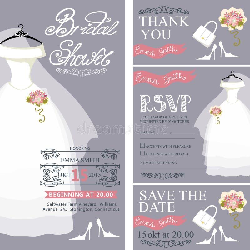 Bridal shower invitation.Wedding dress,bouquet royalty free illustration