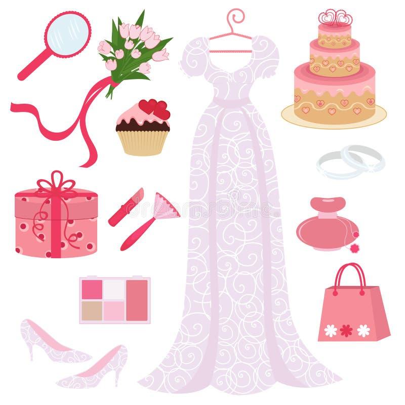 Bridal shower set stock illustration