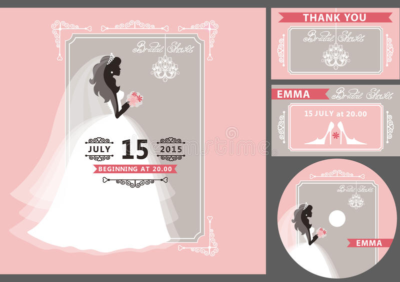 Bridal shower template setide silhouetteframe stock vector bridal shower template set bride silhouette frame wedding invitation flat white dress veil bouquet hand writing text ribbon 61817916g stopboris Images