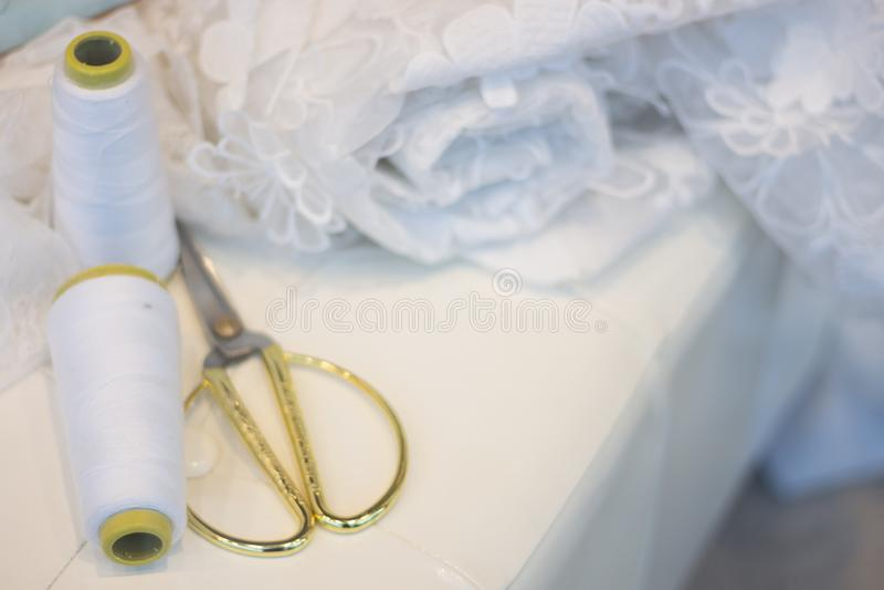 Bridal store dress shop window stock photography