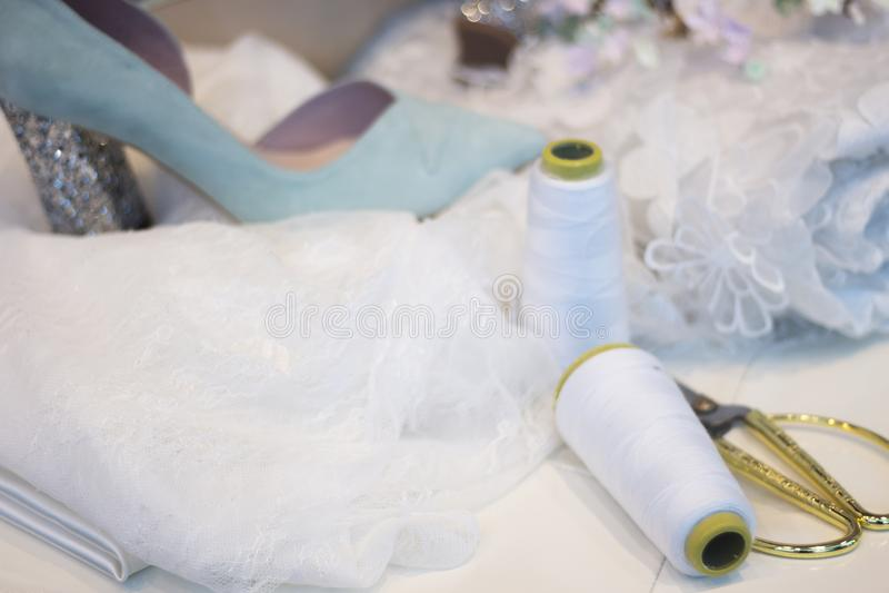 Bridal store dress shop window stock image