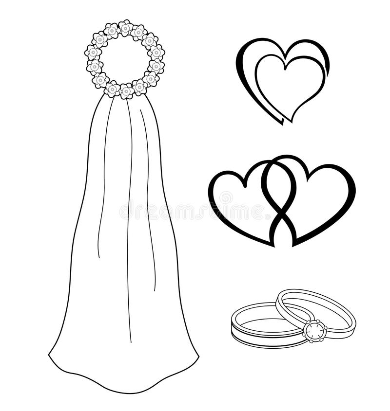 Download Bridal Symbols stock vector. Image of engagement, hearts - 15269532