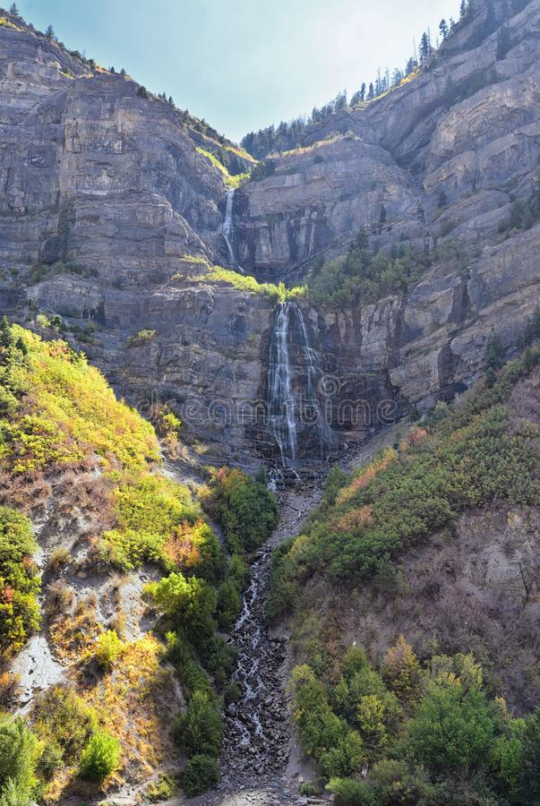 Bridal Veil Falls is a 607-foot-tall 185 meters double cataract waterfall in the south end of Provo Canyon, close to Highway US1. 89 in Utah, United States royalty free stock image