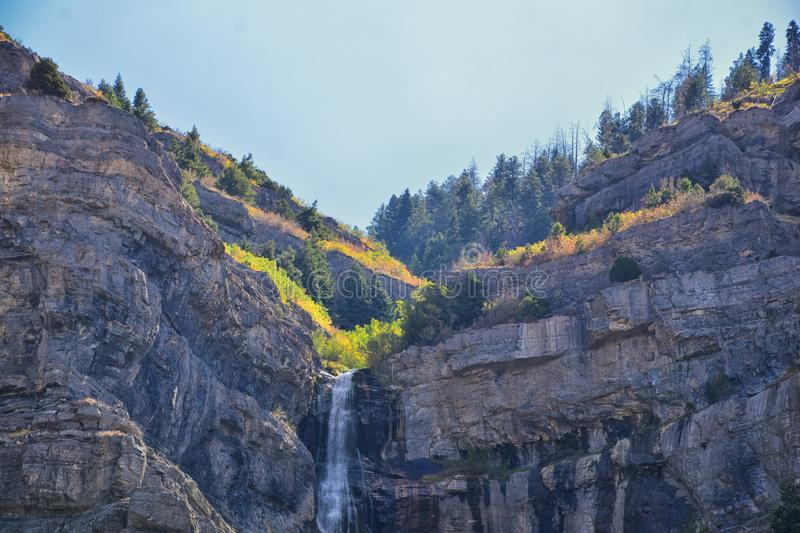 Bridal Veil Falls is a 607-foot-tall 185 meters double cataract waterfall in the south end of Provo Canyon, close to Highway US1. 89 in Utah, United States stock photo