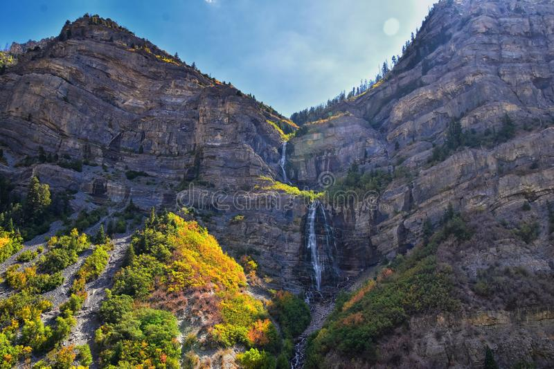 Bridal Veil Falls is a 607-foot-tall 185 meters double cataract waterfall in the south end of Provo Canyon, close to Highway US1. 89 in Utah, United States stock image