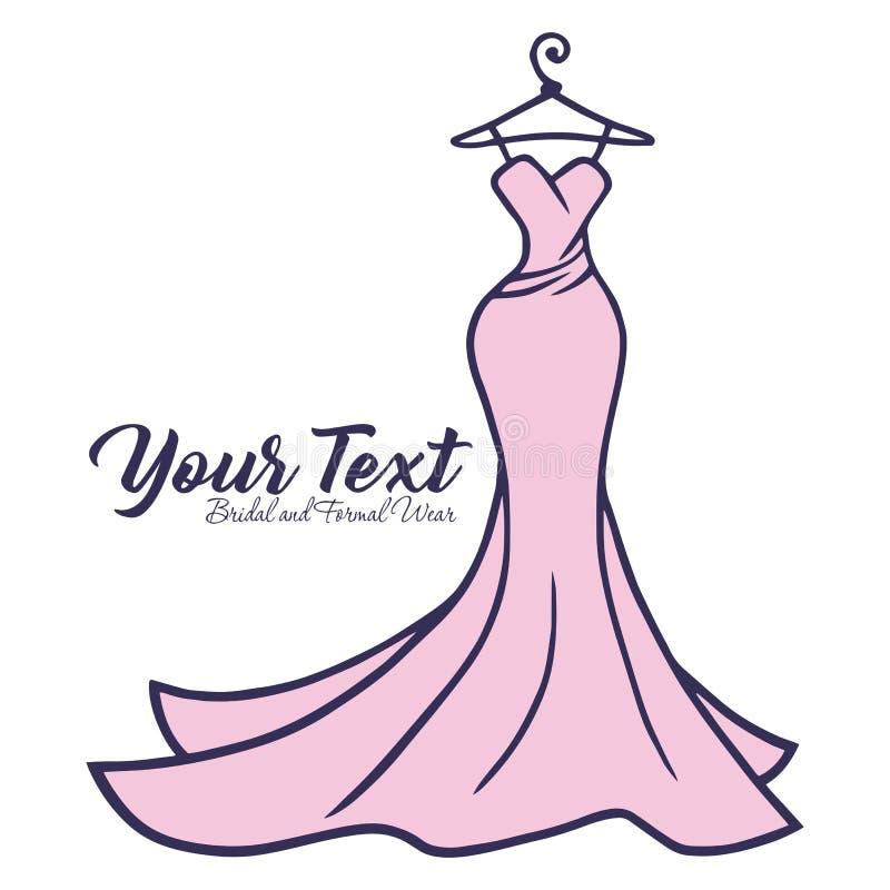 Bridal Wear Logo Hochzeitskleid Boutique Logo Design Vector Illustration stock abbildung