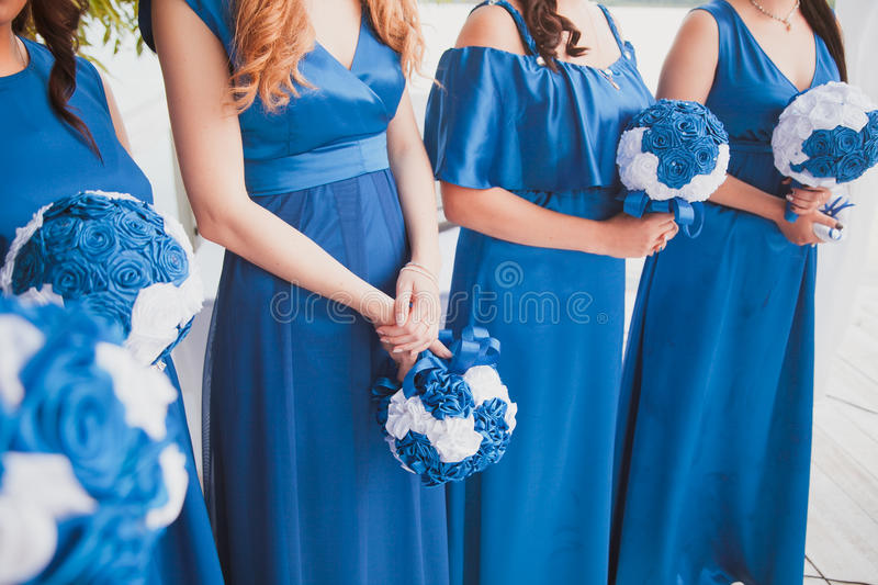 Bridal wedding flowers and brides bouquet. Bridal wedding flowers and brides closeup royalty free stock photo