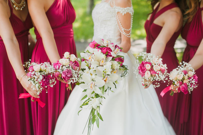 Bridal wedding flowers. And brides closeup stock photography