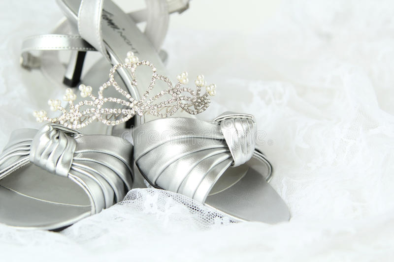 Bridal wedding shoes and diadem stock images