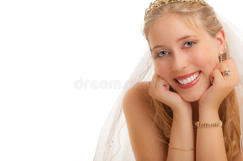 Bride. Close up of a very happy Bride against a white background stock photo