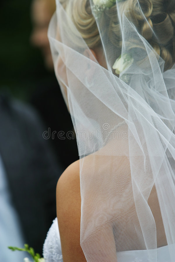Bride. The bride looks in a trace to the groom royalty free stock photos
