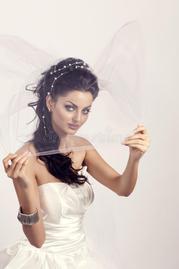 Bride. A beatuiful bride model modeling for a bridal magazine cover royalty free stock photography