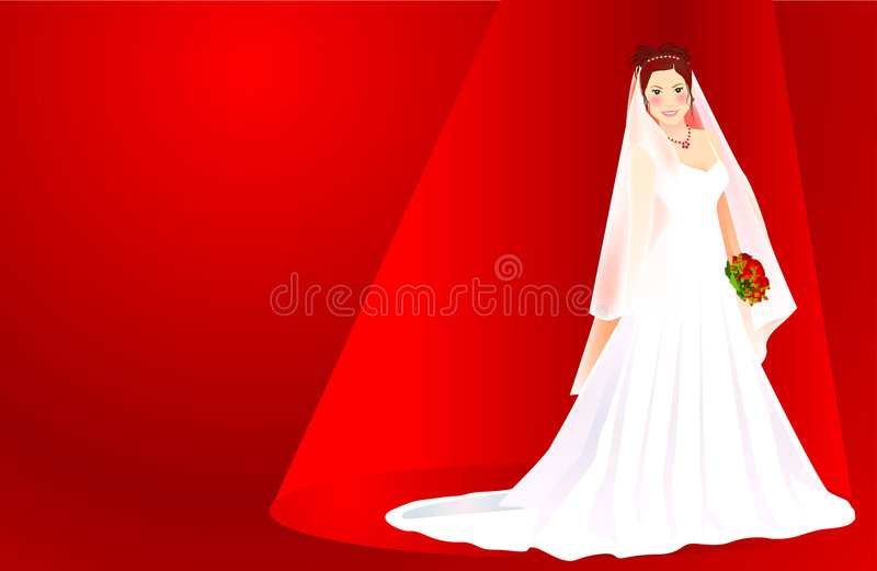Bride. A beautiful bride holding a bouquet of red roses standing on a red background royalty free illustration