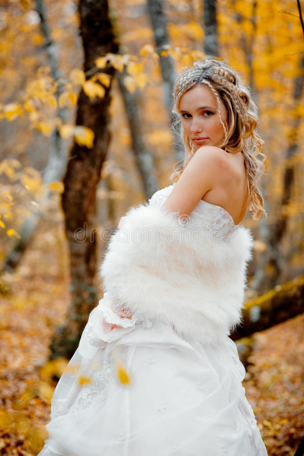 Bride in autumn. Portrait of beautiful blong bride in autumn forest royalty free stock photo