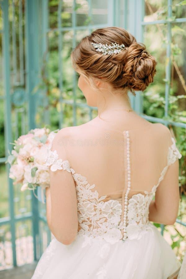 Bride Backs Waiting Outside Fashion Dress Hairstyle Stock Image