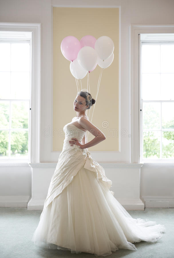 Bride and ballons royalty free stock images