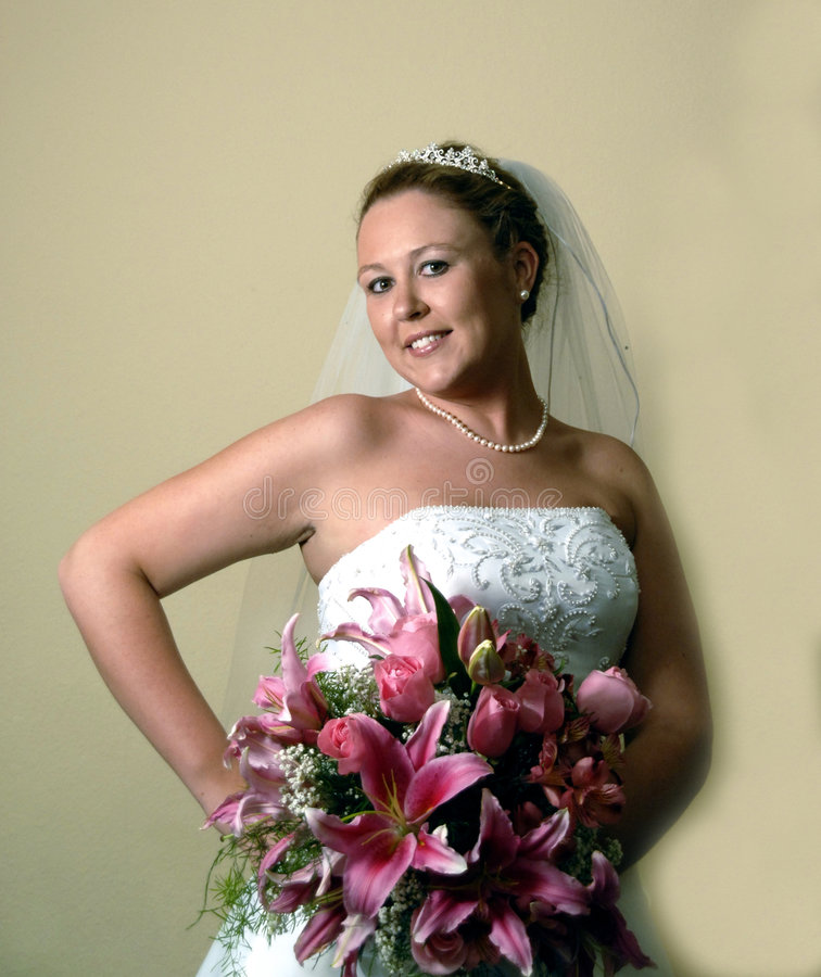 Bride with Beautiful Bouquet royalty free stock photos