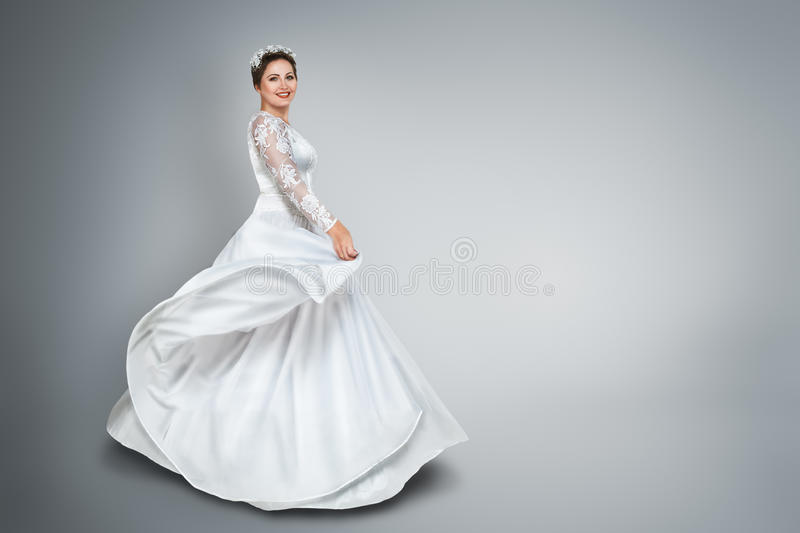 Bride in beautiful wedding dress royalty free stock photos