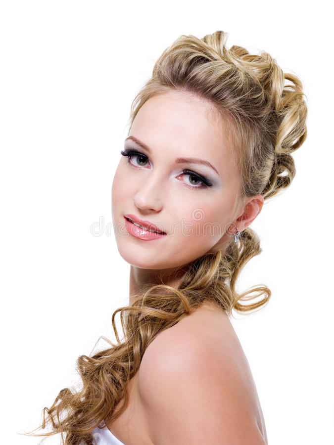 Bride with beautiful wedding hairstyle royalty free stock images