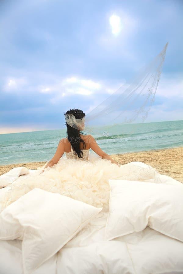 Download Bride In Bed At The Coastline. Stock Image - Image: 20800583