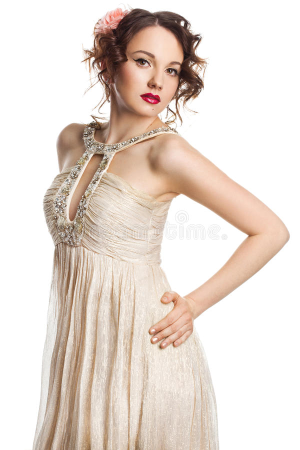 Download Bride in beige dress stock photo. Image of adult, beautiful - 30596810