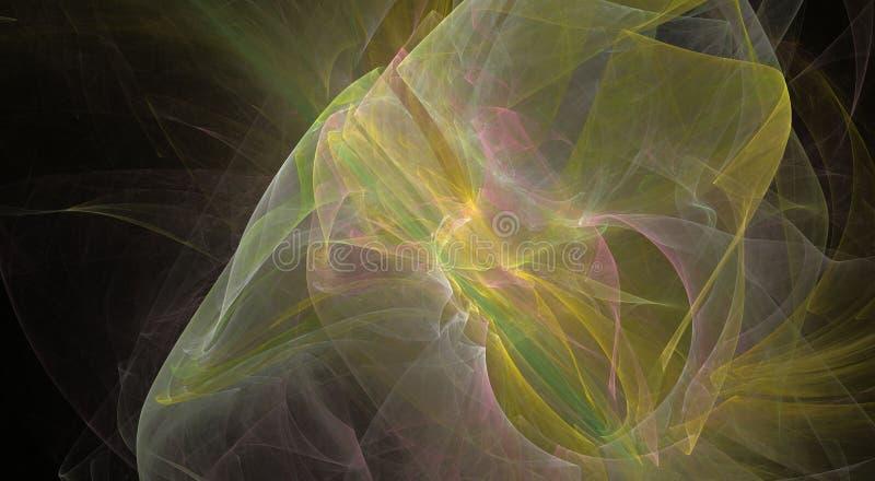 Bride& x27; beijo de s Fundo abstrato bonito com o fractal amarelo gerado pelo computador ilustração royalty free