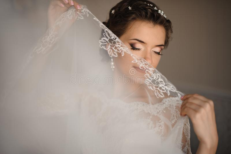 Bride with blue eyes and gentle make-up covers her lips with a veil stock image