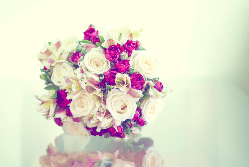 Bride bouchet. Beautiful bride's bouchet with peonies royalty free stock image